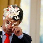 Presidente Santos recibe pastelazo en Tunja