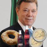 Un roscón, dos gaseosas y 4 euros para el postconflicto recaudó Santos en gira por Europa