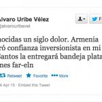 Uribe culpa a las Farc de genocidio armenio